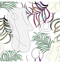 abstract human face tropical seamless white vector image
