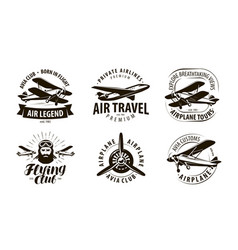 Aircraft airplane logo or label flying club vector