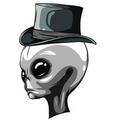 Alien head monochrome isolated on white background vector