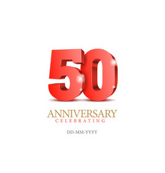 anniversary 50 red 3d numbers vector image