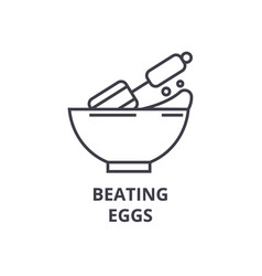 Beating eggs line icon outline sign linear vector