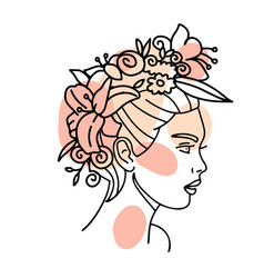 beautiful woman face with flowers wreath one line vector image