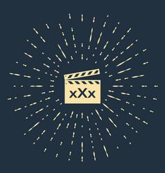 Beige movie clapper with inscription xxx icon vector