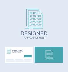 Binary code coding data document business logo vector