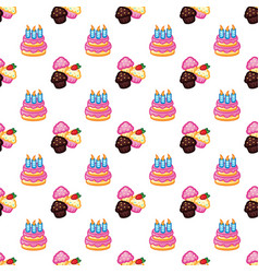 birthday pattern birthday cake with candles for vector image