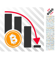 Bitcoin falling acceleration chart flat icon vector