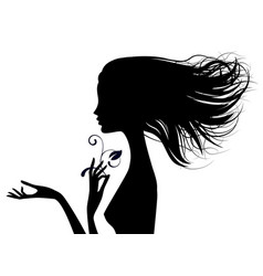 black silhouette of fine naked girl head vector image