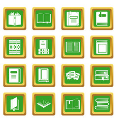 Books icons set green vector