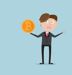 businessman holding bitcoins in his hand vector image