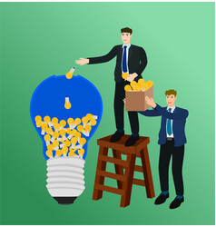 businessman putting idea to big light bulb vector image