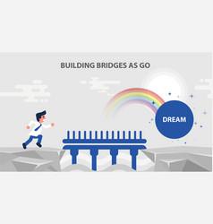 Businessman run bridge over cliff vector