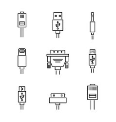 Cable conectors and plugs icons set vector