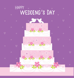 cake wedding flower sweet cute cartoon vector image