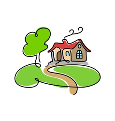 Cartoon house icon with road vector