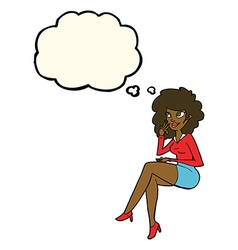 Cartoon office woman sitting with thought bubble vector