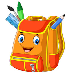 Cartoon school backpack on white background vector