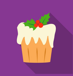 christmas cake icon in flat style isolated on vector image