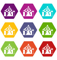 circus tent icon set color hexahedron vector image