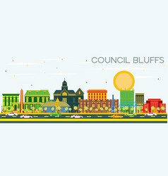council bluffs iowa skyline with color buildings vector image