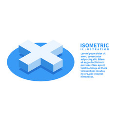 cross icon isometric template for web design vector image