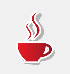 cup of coffee sign new year reddish icon vector image