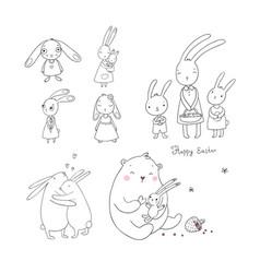 Cute cartoon hares and a bear easter bunnies vector