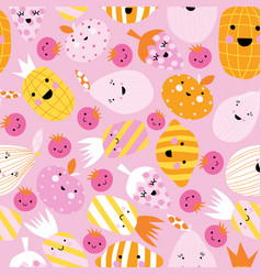 cute fruit seamless background repeating vector image