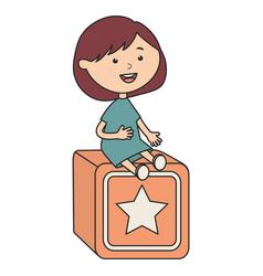 Cute little girl with cube block vector