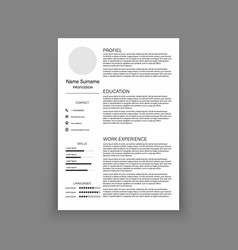 cv resume template design for a creative person vector image