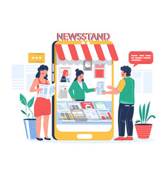 digital newsstand people buying and reading vector image