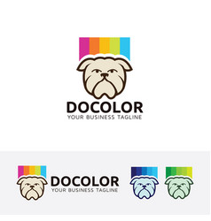 Dog color logo design vector
