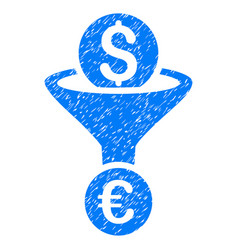 dollar euro conversion funnel grunge icon vector image
