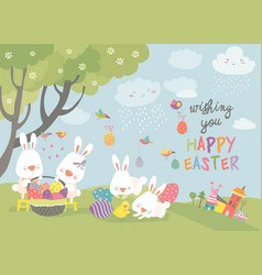 Easter bunnies and easter egg vector