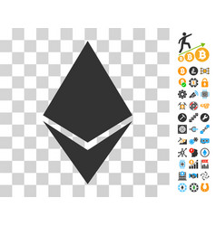 Ethereum crystal icon with bonus vector