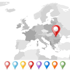 Eu map with pins vector