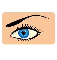 Eye with heart iris vector image vector image