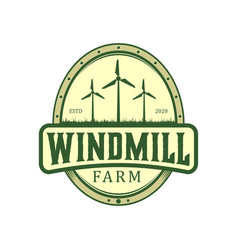 Field windmill farm nature environment energy air vector