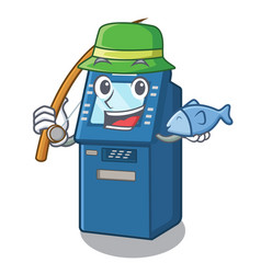 fishing atm machine next to character table vector image