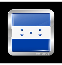 Flag of Honduras Metal Icon Square Shape vector
