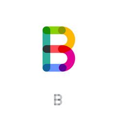 flat style b letter monogram transparent color vector image