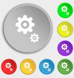 gears icon sign Symbol on eight flat buttons vector image
