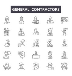 General contractors line icons signs set vector