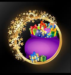 gift bag and golden circle christmas vector image