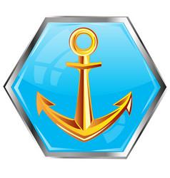 golden anchor on button vector image