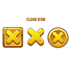 Golden icons close with a cross for interface vector