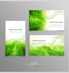 Green abstract business card templates vector