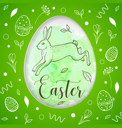 green easter card with rabbit vector image