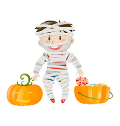 Halloween theme with boy in zombie costume vector