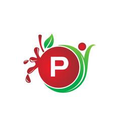 Health fruit juice initial p vector