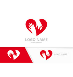 heart and embrace logo combination vector image
